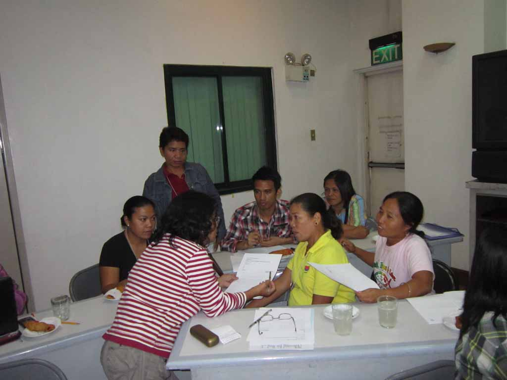 A group brainstorming during a workshop