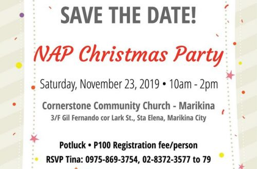 You are invited! Save the date! NAP Christmas Party. Saturday, November 23, 2019. 10 AM - 2 PM